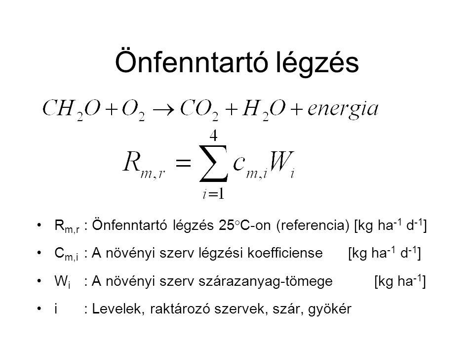 Önfenntartó légzés Rm,r : Önfenntartó légzés 25°C-on (referencia) [kg ha-1 d-1] Cm,i : A növényi szerv légzési koefficiense [kg ha-1 d-1]